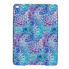 Boho Flower Doodle On Blue Watercolor Ipad Air 2 Hardshell Cases by KirstenStar