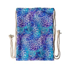 Boho Flower Doodle On Blue Watercolor Drawstring Bag (small) by KirstenStar