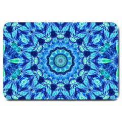 Blue Sea Jewel Mandala Large Doormat by Zandiepants
