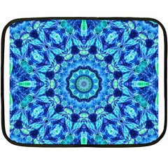 Blue Sea Jewel Mandala Double Sided Fleece Blanket (mini) by Zandiepants