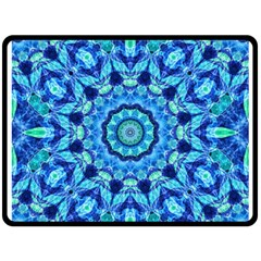 Blue Sea Jewel Mandala Fleece Blanket (large) by Zandiepants