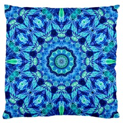 Blue Sea Jewel Mandala Large Cushion Case (one Side) by Zandiepants