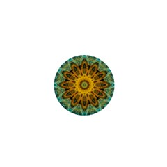 Blue Yellow Ocean Star Flower Mandala 1  Mini Button by Zandiepants