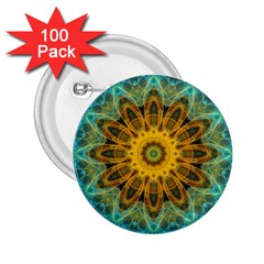 Blue Yellow Ocean Star Flower Mandala 2 25  Button (100 Pack) by Zandiepants