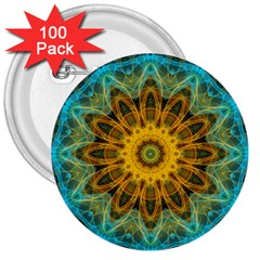 Blue Yellow Ocean Star Flower Mandala 3  Button (100 Pack)