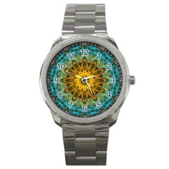 Blue Yellow Ocean Star Flower Mandala Sport Metal Watch by Zandiepants