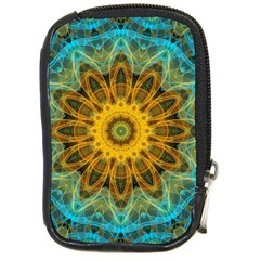 Blue Yellow Ocean Star Flower Mandala Compact Camera Leather Case by Zandiepants