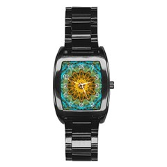 Blue Yellow Ocean Star Flower Mandala Stainless Steel Barrel Watch by Zandiepants