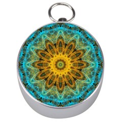 Blue Yellow Ocean Star Flower Mandala Silver Compass by Zandiepants
