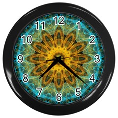 Blue Yellow Ocean Star Flower Mandala Wall Clock (black) by Zandiepants