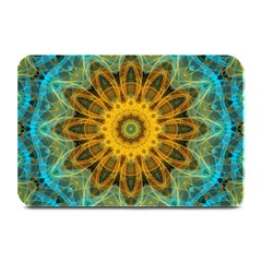 Blue Yellow Ocean Star Flower Mandala Plate Mat by Zandiepants