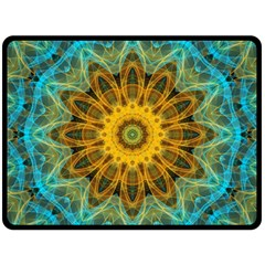Blue Yellow Ocean Star Flower Mandala Double Sided Fleece Blanket (large) by Zandiepants