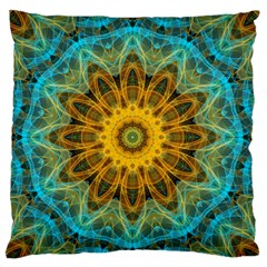 Blue Yellow Ocean Star Flower Mandala Large Flano Cushion Case (one Side) by Zandiepants
