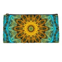 Blue Yellow Ocean Star Flower Mandala Pencil Case by Zandiepants