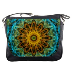 Blue Yellow Ocean Star Flower Mandala Messenger Bag by Zandiepants