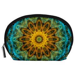 Blue Yellow Ocean Star Flower Mandala Accessory Pouch (large) by Zandiepants