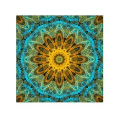 Blue Yellow Ocean Star Flower Mandala Small Satin Scarf (square) by Zandiepants