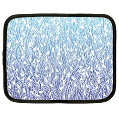 Blue Ombre Feather Pattern, White, Netbook Case (large)