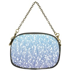 Blue Ombre Feather Pattern, White, Chain Purse (one Side) by Zandiepants