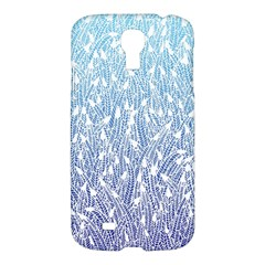 Blue Ombre Feather Pattern, White, Samsung Galaxy S4 I9500/i9505 Hardshell Case by Zandiepants
