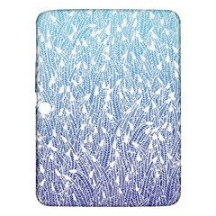 Blue Ombre Feather Pattern, White, Samsung Galaxy Tab 3 (10 1 ) P5200 Hardshell Case  by Zandiepants