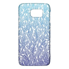 Blue Ombre Feather Pattern, White, Samsung Galaxy S6 Hardshell Case  by Zandiepants