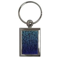 Blue Ombre Feather Pattern, Black, Key Chain (rectangle) by Zandiepants