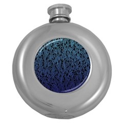 Blue Ombre Feather Pattern, Black, Hip Flask (5 Oz) by Zandiepants