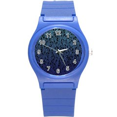 Blue Ombre Feather Pattern, Black, Round Plastic Sport Watch (s) by Zandiepants