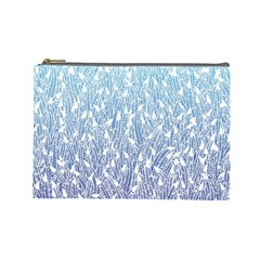Blue Ombre Feather Pattern, White, Cosmetic Bag (large)