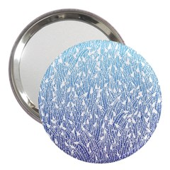 Blue Ombre Feather Pattern, White, 3  Handbag Mirror