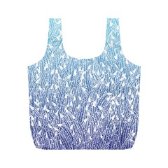 Blue Ombre Feather Pattern, White, Full Print Recycle Bag (m) by Zandiepants
