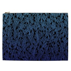 Blue Ombre Feather Pattern, Black, Cosmetic Bag (xxl) by Zandiepants