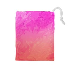 Ombre Pink Orange Drawstring Pouches (large)  by BrightVibesDesign