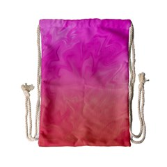 Ombre Pink Orange Drawstring Bag (small) by BrightVibesDesign