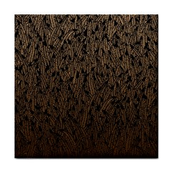 Brown Ombre Feather Pattern, Black, Tile Coaster by Zandiepants