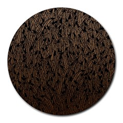 Brown Ombre Feather Pattern, Black, Round Mousepad by Zandiepants