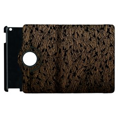 Brown Ombre Feather Pattern, Black, Apple Ipad 3/4 Flip 360 Case by Zandiepants