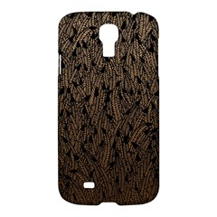 Brown Ombre Feather Pattern, Black, Samsung Galaxy S4 I9500/i9505 Hardshell Case by Zandiepants