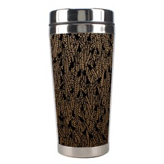 Brown Ombre Feather Pattern, Black, Stainless Steel Travel Tumbler by Zandiepants