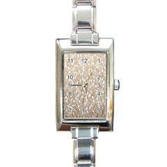 Brown Ombre Feather Pattern, White, Rectangle Italian Charm Watch by Zandiepants