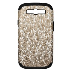 Brown Ombre Feather Pattern, White, Samsung Galaxy S Iii Hardshell Case (pc+silicone) by Zandiepants