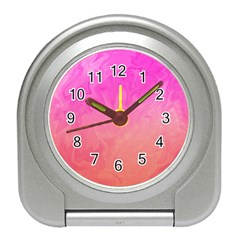 Ombre Pink Orange Travel Alarm Clocks by BrightVibesDesign