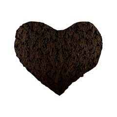 Brown Ombre Feather Pattern, Black, Standard 16  Premium Flano Heart Shape Cushion  by Zandiepants