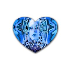 Clockwork Blue Rubber Coaster (heart)  by icarusismartdesigns