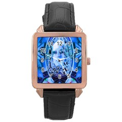 Clockwork Blue Rose Gold Leather Watch