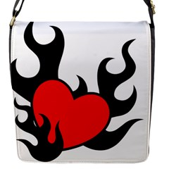 Black And Red Flaming Heart Flap Messenger Bag (s) by TRENDYcouture