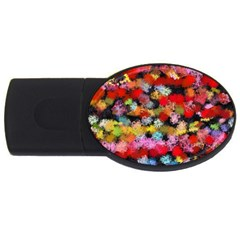 Colorful Brush Strokes                                             			usb Flash Drive Oval (2 Gb) by LalyLauraFLM