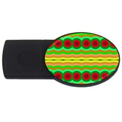 Circles And Waves                                              			usb Flash Drive Oval (4 Gb) by LalyLauraFLM