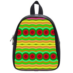 Circles And Waves                                              			school Bag (small) by LalyLauraFLM